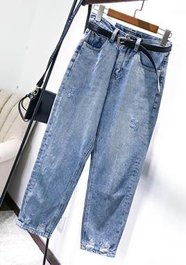 破洞牛仔裤女宽松  送腰带 SS2039