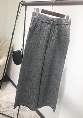 宽松格子针织阔腿裤 SS2239