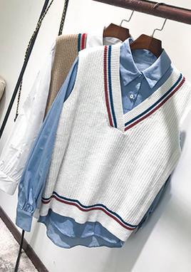 衬衫毛衣马甲两件套女 SS2210